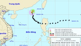 Vị trí và đường đi của bão số 7. Ảnh: TTDBKTTVTW
