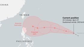 Siêu bão Yutu đang hướng về châu Á. Ảnh: Hong Kong Observatory