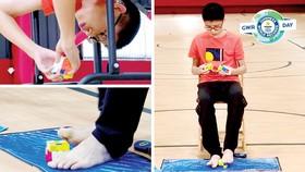 Giải 3 khối rubik bằng cả tay và chân