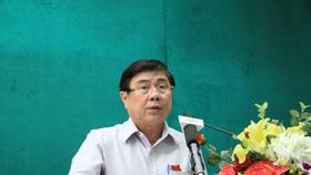 Chủ tịch UBND TP Nguyễn Thành Phong thông tin về việc thanh tra, điều tra các dự án ở TP trong thời gian qua. Nguồn: NLD.COM.VN
