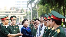 Chủ tịch Quốc hội Nguyễn Thị Kim Ngân tới dự lễ khai giảng năm học 2018-2019 của Học viện Quốc phòng. Ảnh: QĐND