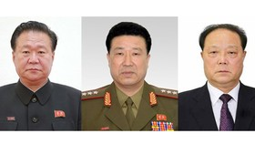 3 quan chức Triều Tiên vừa bị Mỹ trừng phạt từ trái qua: Choe Ryong-hae, Jong Kyong-thaek và Pak Kwang-ho