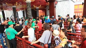 Visitors get line to buy tickets for 12 underwater games at Typhoon water park