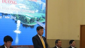 Chairman Tran Thanh Liem gives his speech at the meeting Photo: SGGP