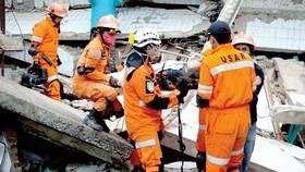 Nhân viên cứu hộ tiếp tục tìm kiếm các nạn nhân trong đống đổ nát sau thảm họa sóng thần