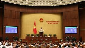 Toàn cảnh Quốc hội biểu quyết thông qua Nghị quyết về phân bổ ngân sách trung ương năm 2019 ngày 14/11. (Ảnh: Văn Điệp/TTXVN)