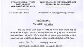 Xóa tên luật sư Phạm Công Út khỏi Đoàn Luật sư TPHCM