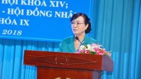Chủ tịch HĐND TPHCM Nguyễn Thị Quyết Tâm đang trả lời các ý kiến của cử tri quận Thủ Đức. Ảnh: KIỀU PHONG