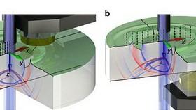 如圖所示,研究小組建造了一面裝有聲波感測器和隔熱屏的鏡子,用於減少干擾和背景噪音。