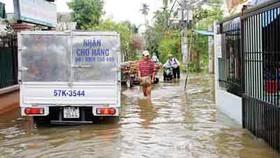 High tide breaks dyke, submerges homes in HCMC