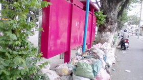 Góc ảnh: Nhà chờ xe buýt thành nơi đổ rác