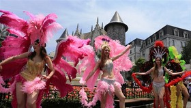 Colourful Ba Na Hills festival carnival in Tet holiday