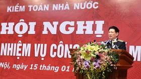 Tổng Kiểm toán nhà nước Hồ Đức Phớc phát biểu tại hội nghị