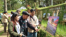 Tourists visit photo exhibition. (Photo: Sggp)