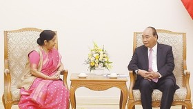 Prime Minister Nguyen Xuan Phuc (right) meets with Indian Foreign Minister Sushma Swaraj on August 28. (Photo: VNA)
