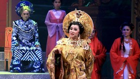 A scene in the historical cai luong play Thai Hau Duong Van Nga (Queen Mother Duong Van Nga)
