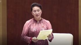 Chủ tịch Quốc hội Nguyễn Thị Kim Ngân tại cuối phiên chất vấn và trả lời chất vấn chiều 15-6-2017. Ảnh cắt từ clip VTV