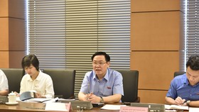 Phó Thủ tướng Vương Đình Huệ (đại biểu Quốc hội đoàn Hà Tĩnh) phát biểu tại thảo luận tổ. Ảnh: VGP