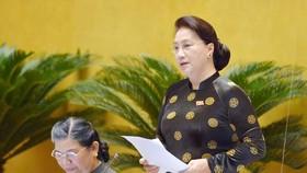 Chủ tịch Quốc hội Nguyễn Thị Kim Ngân kết luận phiên chất vấn. Ảnh: VIẾT CHUNG