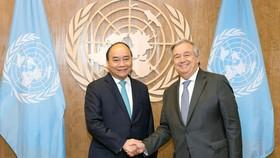 Thủ tướng Nguyễn Xuân Phúc gặp gỡ Chủ tịch Đại hội đồng và Tổng Thư ký Liên hiệp quốc