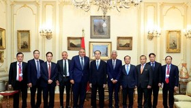 President Tran Dai Quang (middle) and leaders of the Federation of Egyptian Chambers of Commerce (Photo: VNA)
