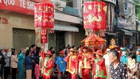 At the 'Nghinh Ong xuat du' ritual (Photo: VNA)