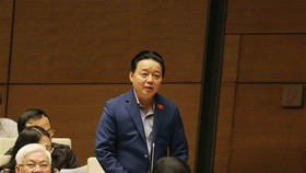 Minister of Natural Resources and Environment Tran Hong Ha at the Question-and-Answer session (Photo: VNA)