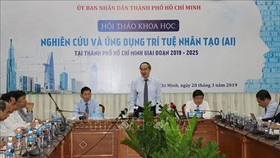 Secretary of the HCMC Party Committee Nguyen Thien Nhan delivers his speech in the conference. (Photo by Vietnam News Agency)