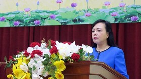 Health Minister Tien at the meeting (Photo: SGGP)