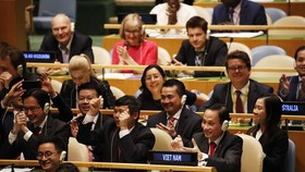 Members of the Vietnamese delegation rejoice over the country's election as a non-permanent member of the UN Security Council for 2020-2021 on June 7 (Photo: VNA)