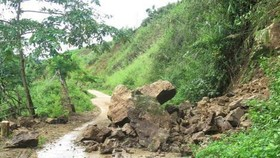 A landslide occurs in Dien Bien