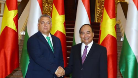 Prime Minister Nguyen Xuan Phuc (R) and his Hungarian counterpart Viktor Orban (Source: VNA)