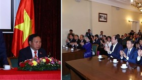 Prime Minister Nguyen Xuan Phuc at the meeting with embassy staff and representatives of Vietnamese expats in Russia (Photo: VNA)