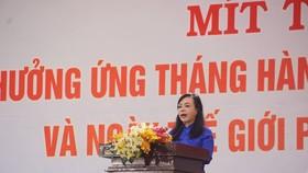 Bộ trưởng Bộ Y tế Nguyễn Thị Kim Tiến phát biểu tại lễ mít tinh