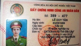 police officer Le Duy Tan's People's Police Certificate ID card