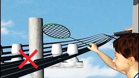 Không thả diều, vật bay, buộc gia súc dưới cột điện hoặc gần đường dây điện