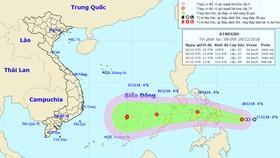 Dự báo về đường đi của áp thấp nhiệt đới có thể mạnh lên thành bão. Ảnh: TTDBKTTVQG