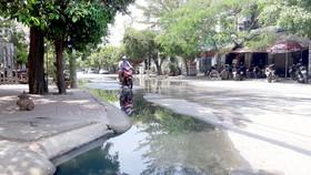 Nước cống tràn ra đường