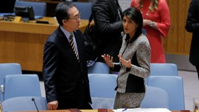 美國常駐聯合國代表妮基·黑莉(Nikki Haley)與韓國常駐聯合國代表趙太烈(Cho Tae-yul)在安理會緊急會議上交談。(圖源:路透社)
