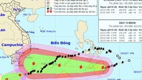 """東海附近又出現一股新颱風""""天秤""""。圖為颱風""""天秤""""的移動方向。(圖源:中央水文氣象預報中心)"""