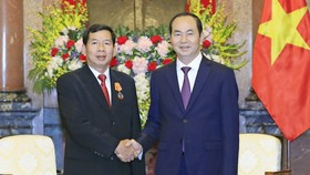國家主席陳大光(右)接見西提丹帕院長。