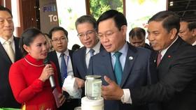 王廷惠副總理(右二)參觀越南展館。