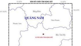 廣南省發生 3.1 級地震。圖中星號表示震中位置。(圖源:地球物理院)