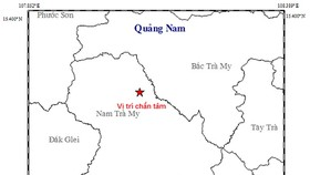 昨(21)日上午廣南省連續發生兩起地震。圖中星號表示震中位置。(圖源:地球物理院)