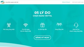 Viettel 提供轉換網絡服務。(圖源:網站截圖)