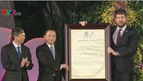 高平省山水全球地質公園稱號迎接儀式一瞥。(圖源:諒山報)