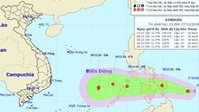 熱帶低壓形成颱風可能登陸中或南部。圖為熱帶低壓的移動方向。(圖源:國家水文氣象預報中心)