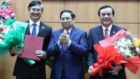 新任廣南省省委書記潘越強(右一)。(圖源:孟長)