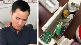 被拘押的嫌犯(左圖)與內裝燃爆物的麥克風。(圖源:CTV)