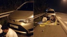 4名青年坐在編號88A-079.14轎車的車頭前面席地而坐吃喝。(圖源:laocaionline)